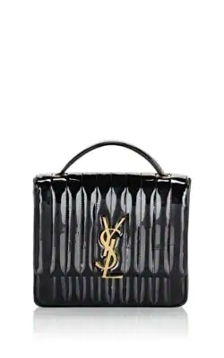 b8141e64a2 Saint Laurent Vicky Monogram Ysl Large Quilted Leather Chain Crossbody Bag  In Black