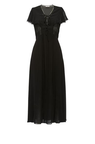 Miu Miu Silk Georgette Dress In Black