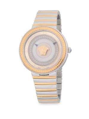 Versace Stainless Steel Analog Bracelet Watch In Rose Gold
