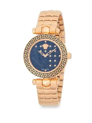 Versace Studded Stainless Steel Analog Bracelet Watch In Rose Gold