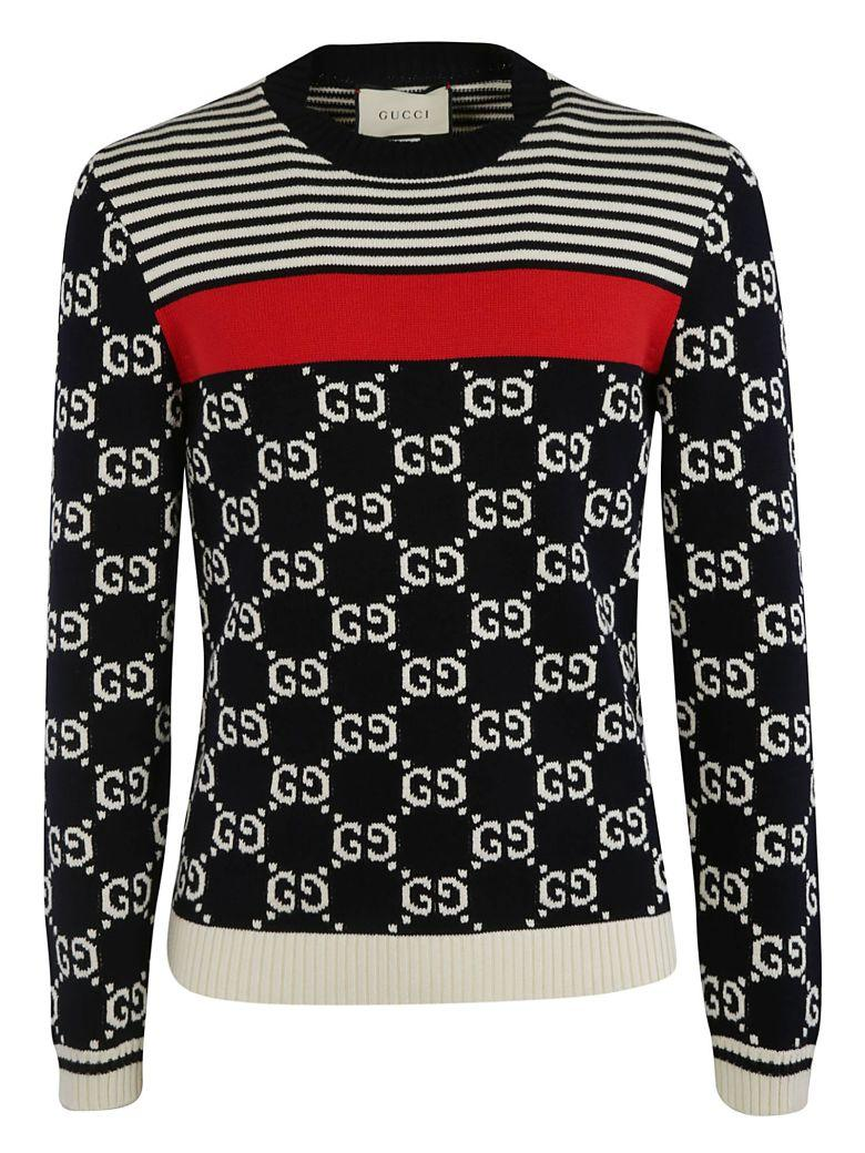 f2434303a Gucci Gg Stripes Knit Sweater In Ink Milk Live Red   ModeSens