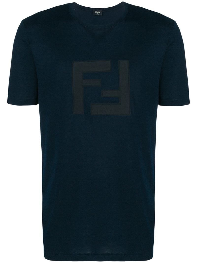 91121bdadfe650 Fendi T-Shirt Mit Logo-Patch - Blau In Blue