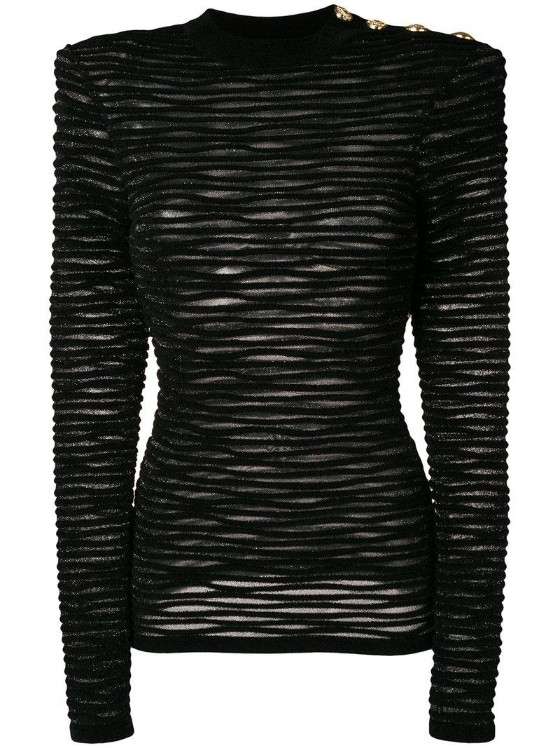 c06d71cc756 Balmain Ribbed Velour Jumper - Black