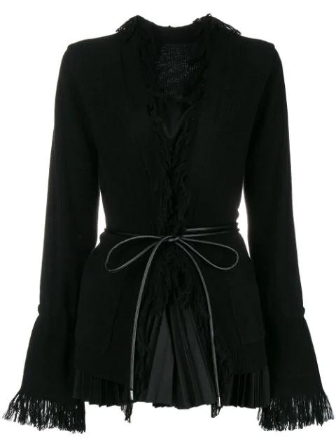 Sacai Belted Fringed Cardigan In Black