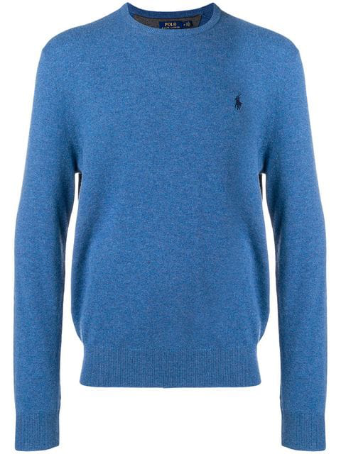 Polo Ralph Lauren Logo-Embroidered Wool Sweater In Blue