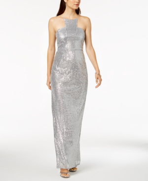 Adrianna Papell Sequin Cutaway Gown In Silver