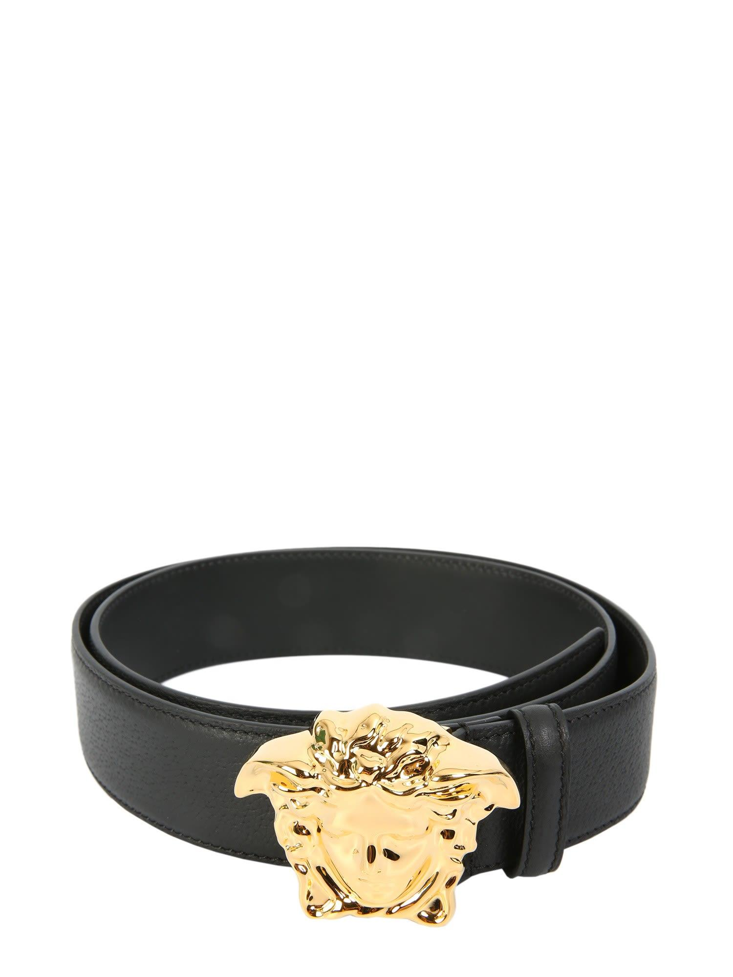 Belt With Medusa Head Buckle In Nero