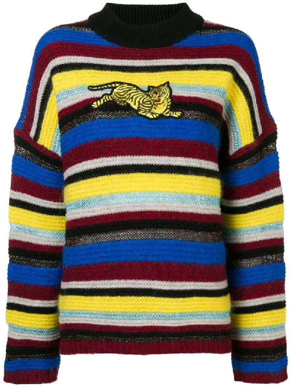 6da6985d9 Kenzo Jumping Tiger AppliquÉD Striped Wool-Blend Sweater In Yellow ...