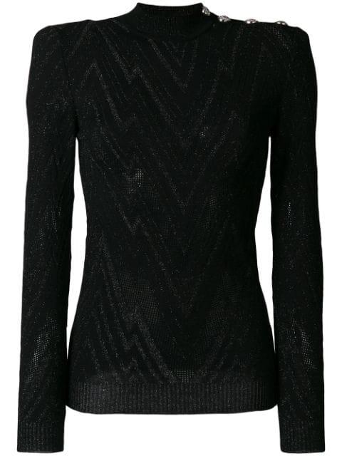 Balmain Buttoned Wool Sweater In Black