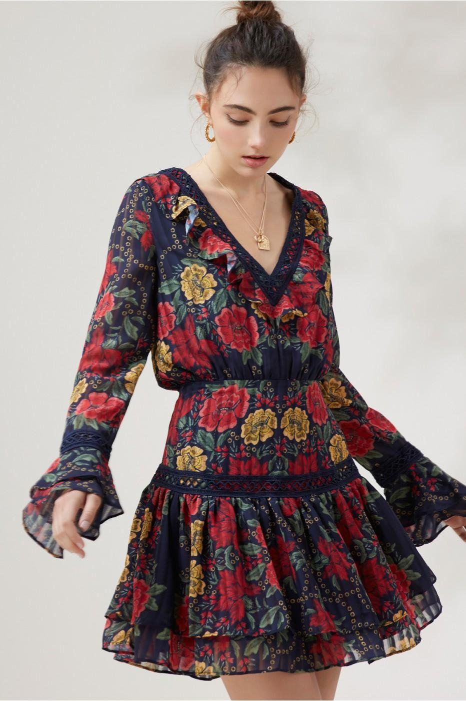 ed7caacbc7e8 Finders Keepers Arcadia Long Sleeve Mini Dress In Navy Floral | ModeSens