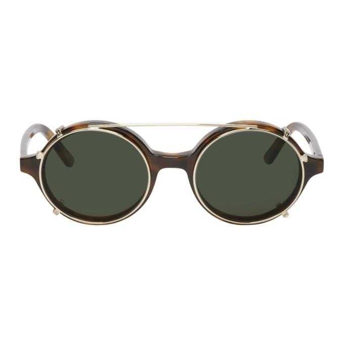 944a9e54d3 Han Kjobenhavn Tortoiseshell And Gold Clip-On Doc Sunglasses In Amber
