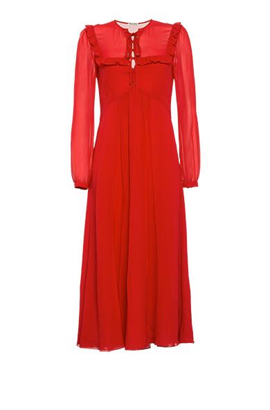 Miu Miu Silk Georgette Dress In Red