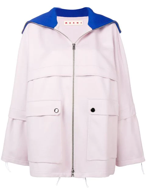 Marni Relaxed Fit Coat In Pink