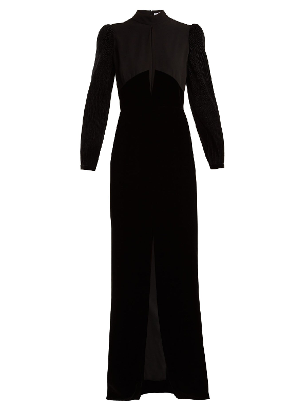 Givenchy Velvet And Crepe Gown In Black