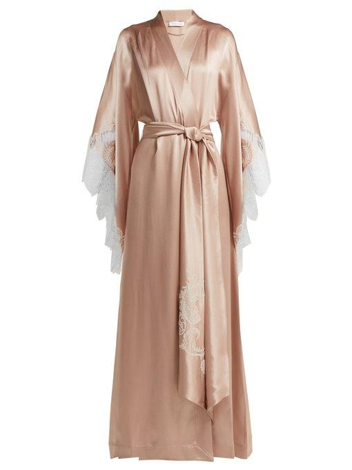fa065390587 Carine Gilson Lace-Embroidered Silk-Satin Robe In Light Pink