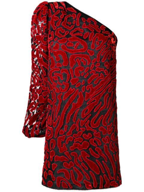 Givenchy Asymmetric Velvet DevorÉ Mini Dress In Red