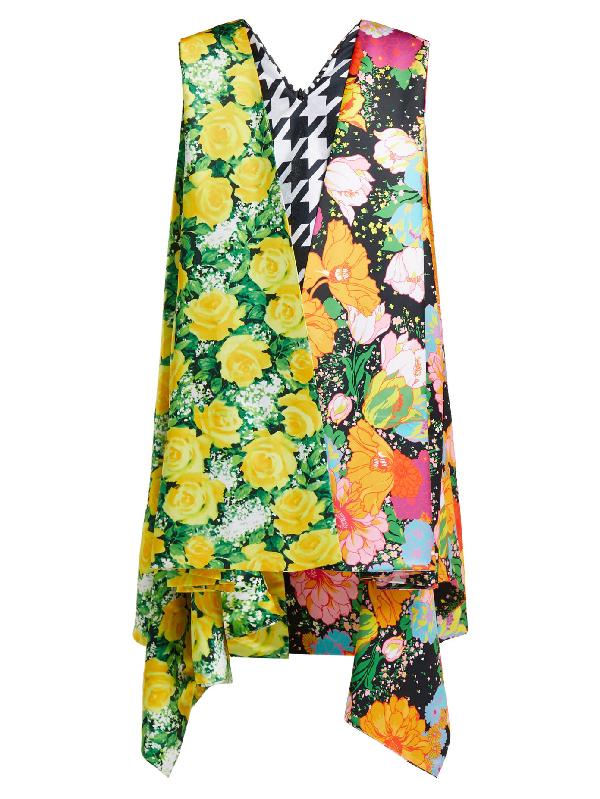 Richard Quinn Contrasting Print Satin Cape-dress In Multi