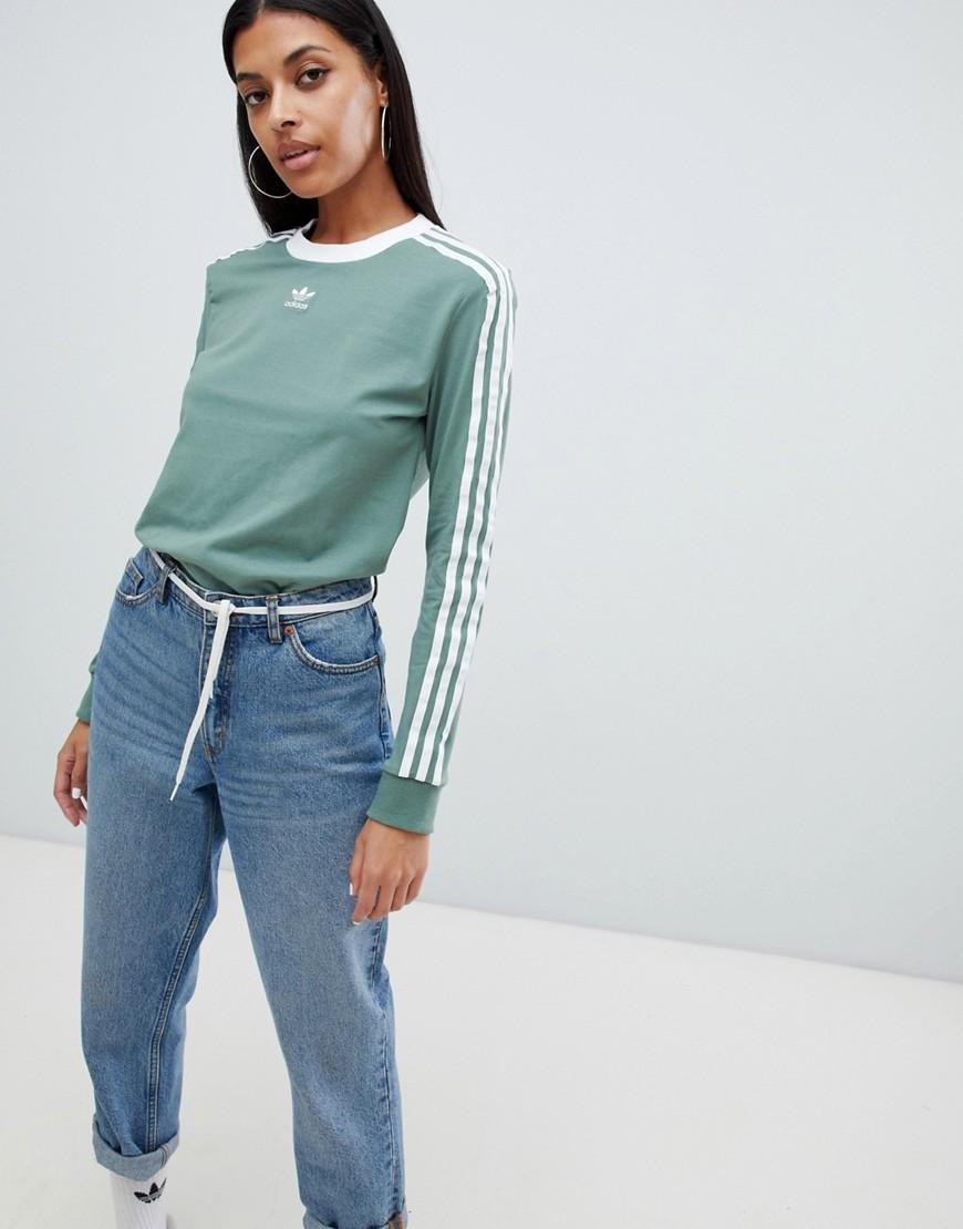 Stripe In Sleeve Three Green T Long Shirt CedxQrBoWE