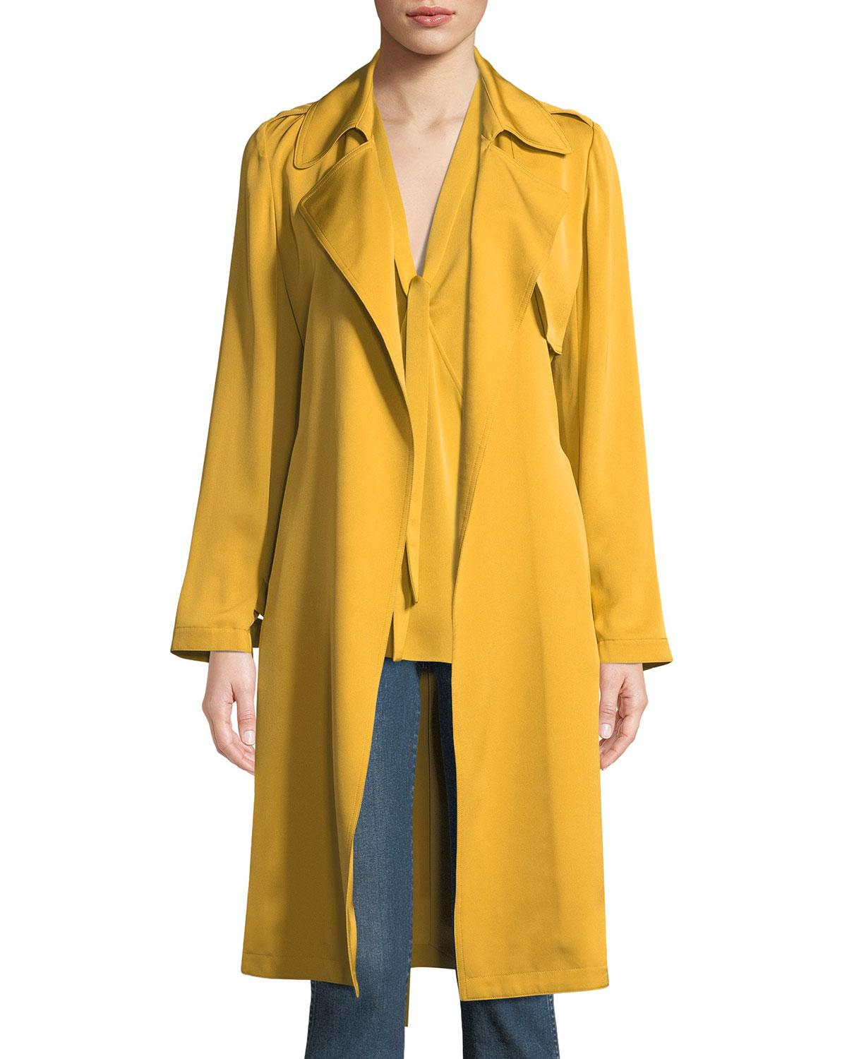 8a29e05683 Theory Oaklane Silk Trench Coat In Electric Pink | ModeSens