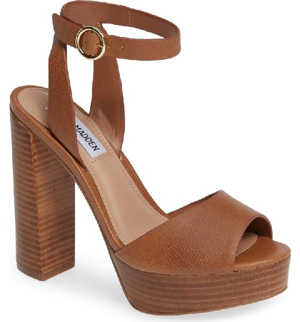 28d544b8d018 Steve Madden Madeline Platform Sandal In Cognac Leather