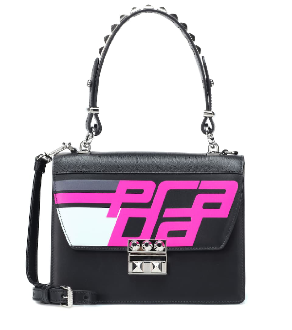 d45d991ec361e0 Prada Elektra City Calf Logo Top-Handle Bag In Black | ModeSens