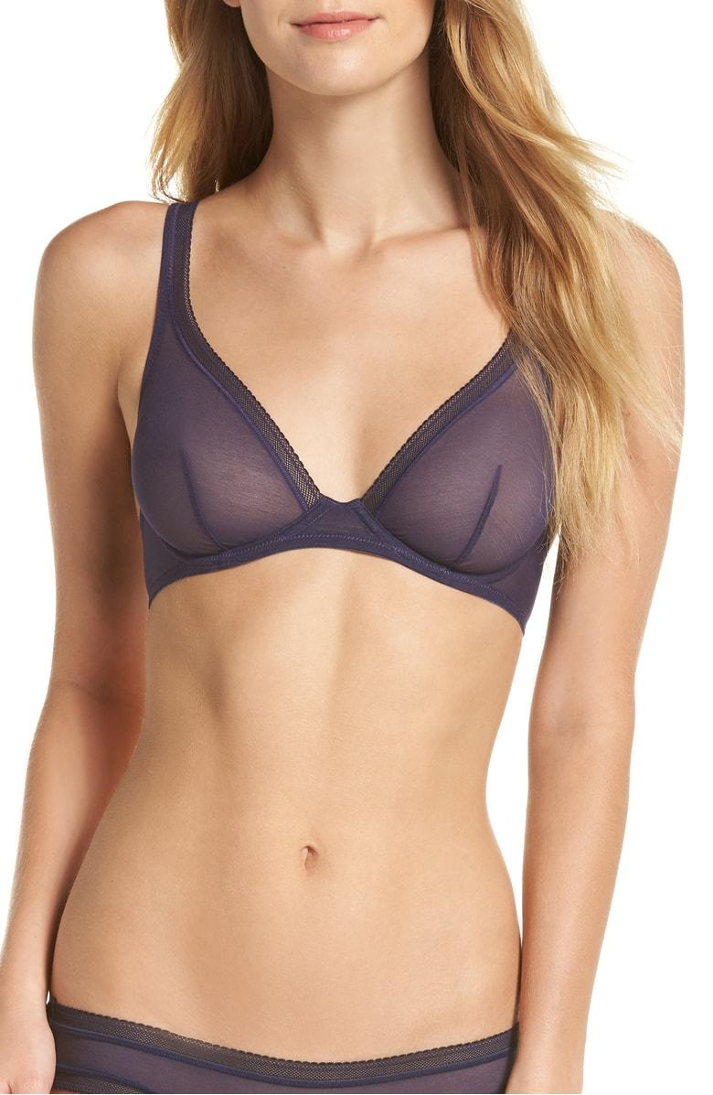 76748822d1 On Gossamer Unlined Mesh Bralette In Navy