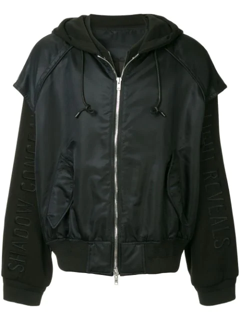Juun.J Layered Hooded Bomber Jacket In Black