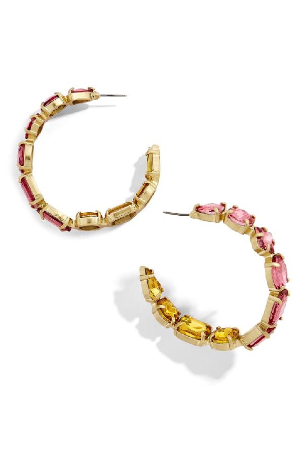 Baublebar Isadora Crystal Embellished Hoops In Pink