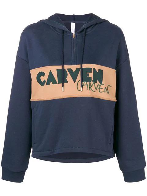 Carven Logo Patch Half Zip Hoodie In Blue