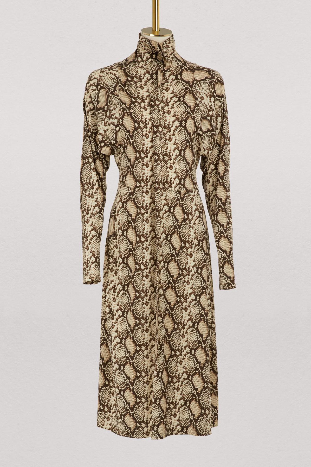 Mock Neck Dress In Snake Printed Crepe Jersey in Python