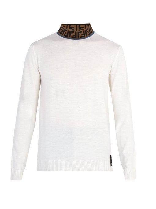 622a9a59440c6b Fendi Ff Logo-Jacquard High-Neck Wool-Blend Sweater | ModeSens