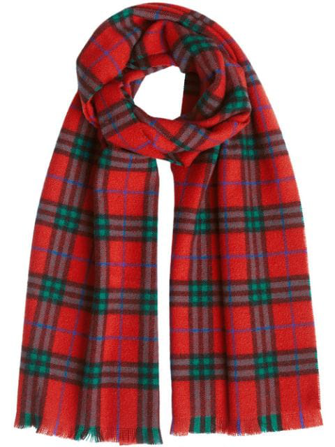 Burberry Check Cashmere Scarf In Red