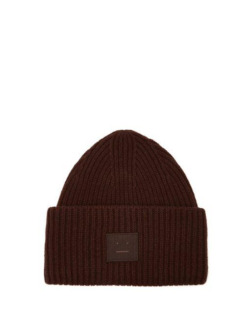 820d6844024 Acne Studios Pansy S Face Ribbed-Knit Beanie Hat In Brown