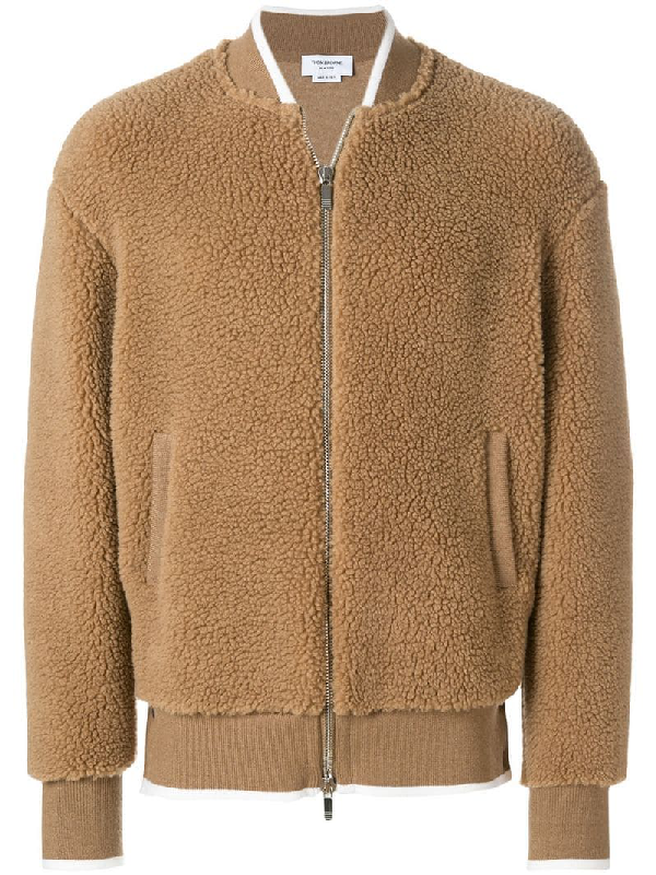 Thom Browne Camel Hair And Silk-Blend Bomber Jacket In Brown
