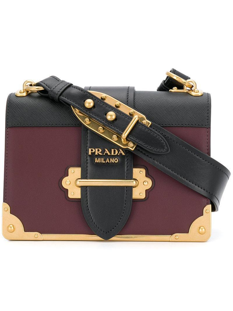 48d3b0fb0364 Prada Cahier Leather Shoulder Bag In Black