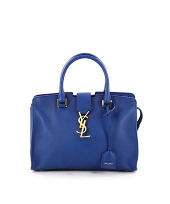 Saint Laurent Pre-Owned: Monogram Cabas Leather Baby In Blue