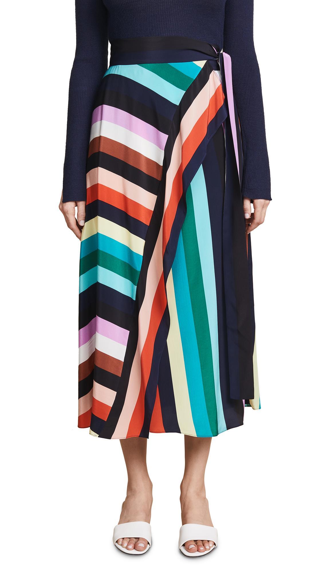 c0284ef42a Diane Von Furstenberg Draped Skirt In Carrington Stripe   ModeSens