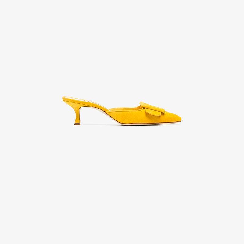 12a470cff77b8 Manolo Blahnik Yellow Maysale 50 Suede Mules   ModeSens