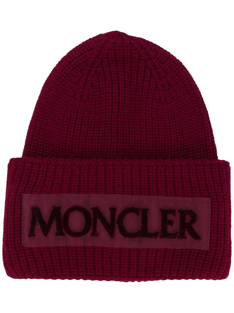 c31f3eb6538 Moncler Rib Knit Logo Beanie - Red