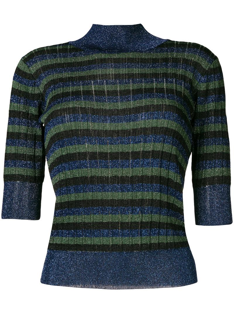 363d411c18 Sonia Rykiel Striped High Neck Knitted Top - Blue | ModeSens