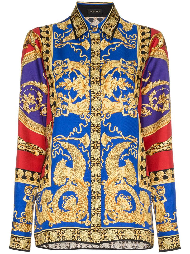 f08b9091 Versace Pillow Talk Archive Print Button-Front Long-Sleeve Silk Shirt In  A7207 Red
