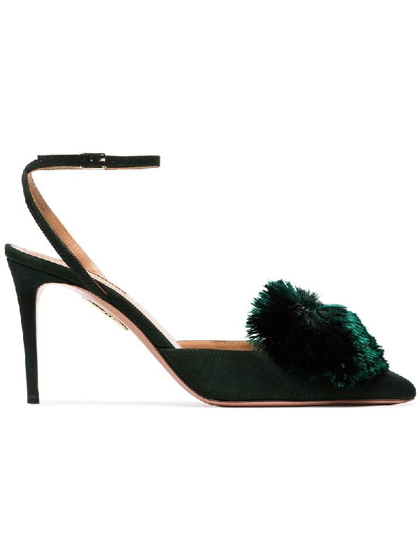 b8edec550 Aquazzura Powder Puff Sling 85 Suede Pumps In Green | ModeSens