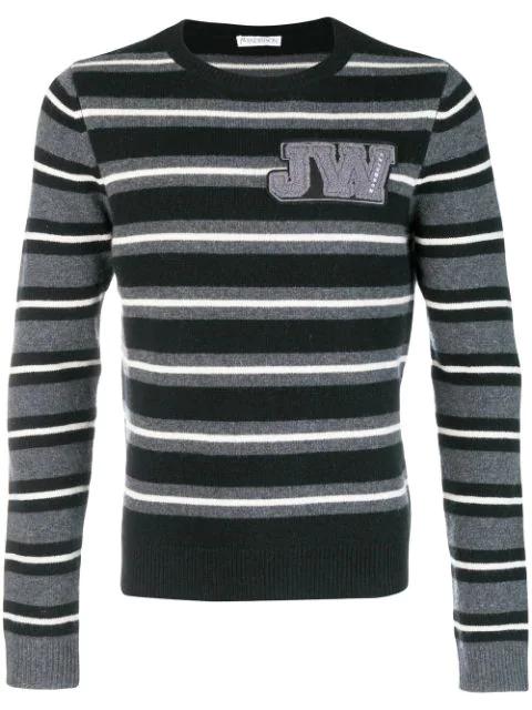 Jw Anderson Striped Crew Neck Jumper In Blk.wht