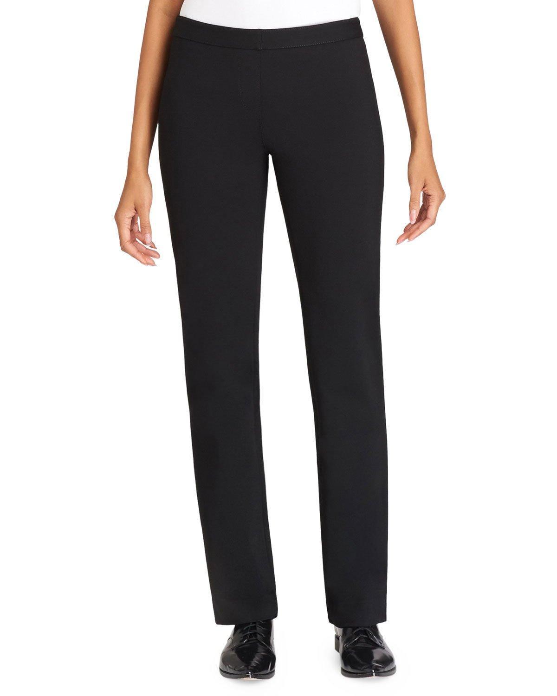 Lafayette 148 Straight-leg Crepe Pants In Black