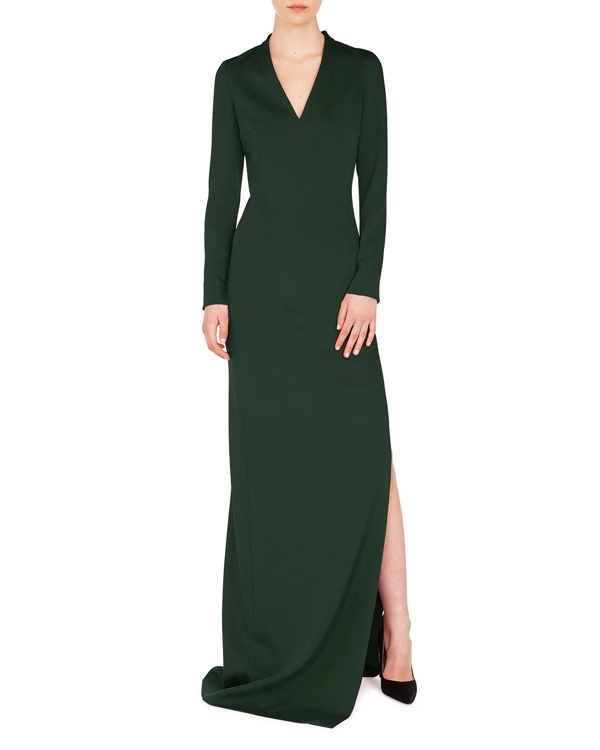 Akris V-Neck Long-Sleeve Side-Slit Silk Stretch-Crepe Evening Gown In Green