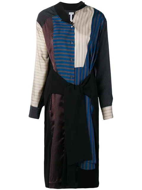 Loewe Long-sleeve Button-front Tie-waist Patchwork Stripe Shirtdress In Black
