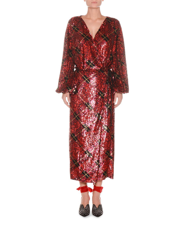Attico Blouson Sleeve Plaid Sequin Wrap Robe Evening Dress