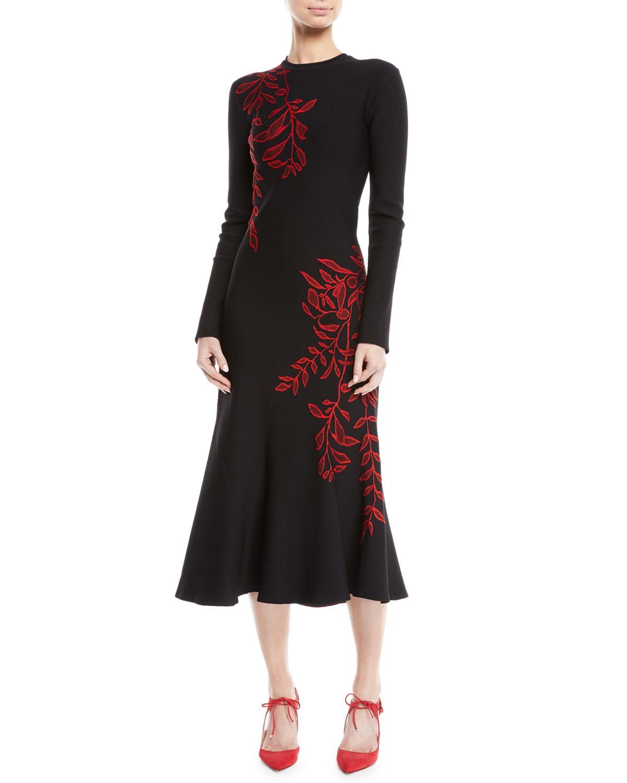 Oscar De La Renta Long-Sleeve Crewneck Floral-Embroidered Flared Knit Dress In Black