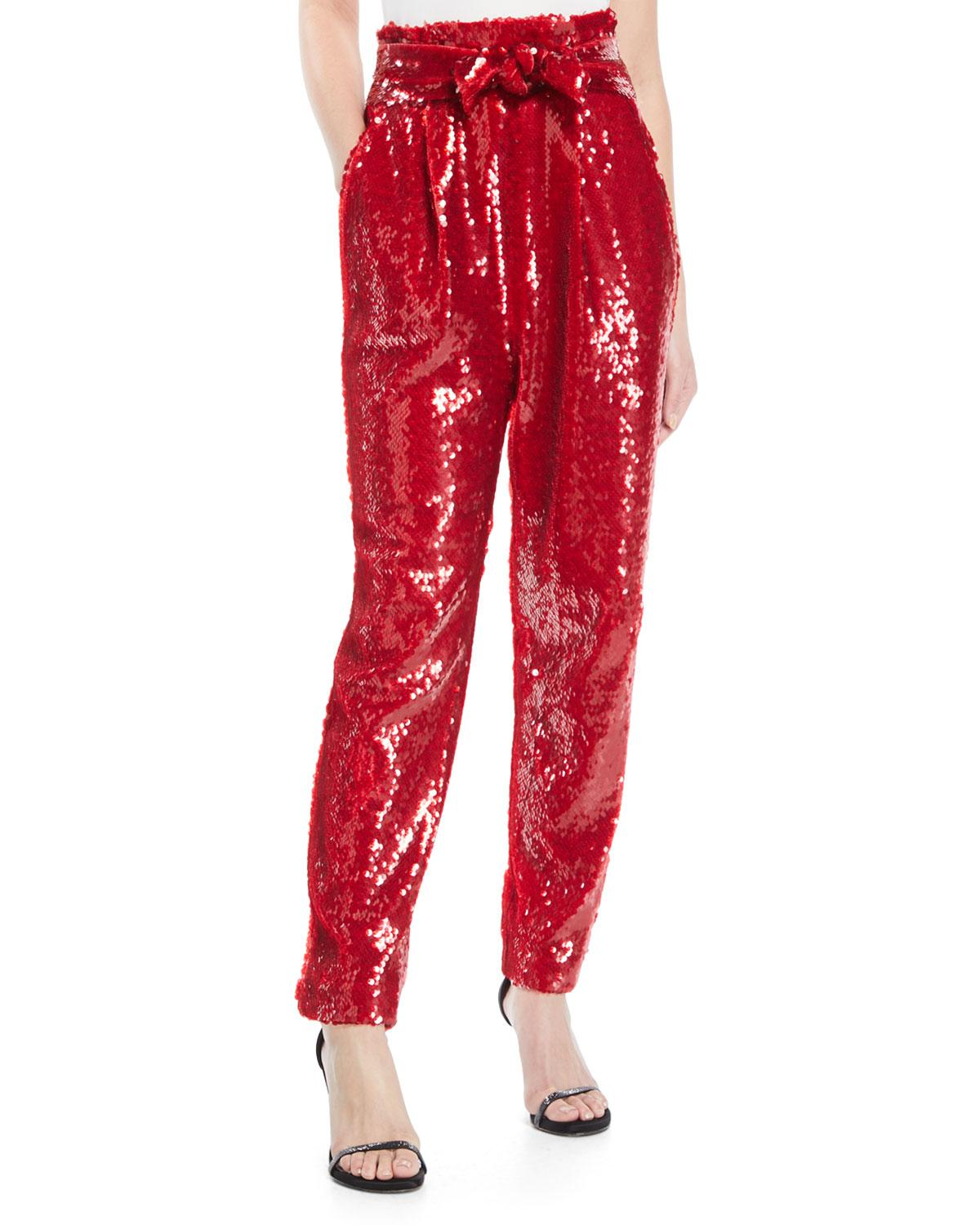 2c3a0b81c9ab8 Sally Lapointe High-Waist Straight-Leg Sequin Pants In Red