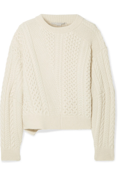 e5260aa6d Stella Mccartney Oversized Cable-Knit Wool And Alpaca-Blend Sweater In Cream